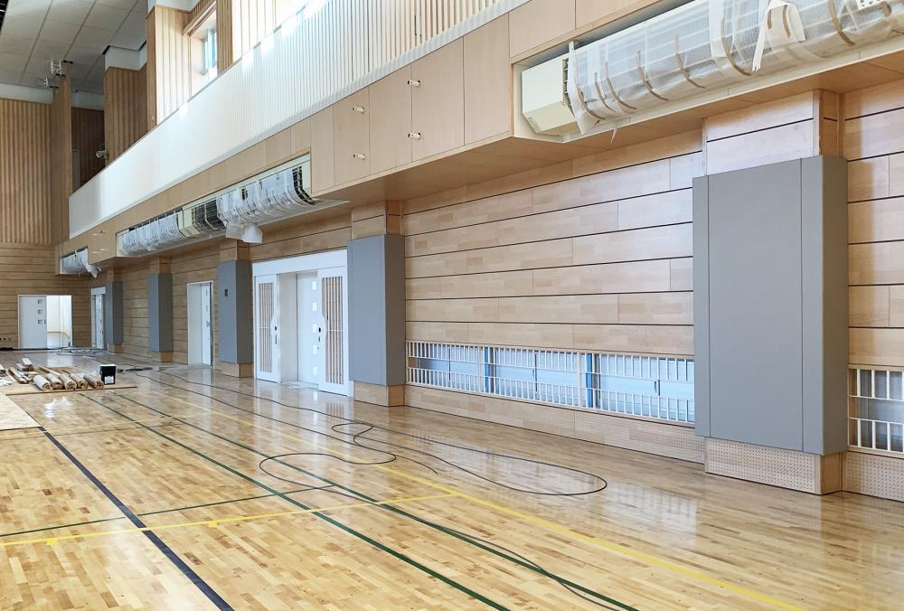 レザーシート仕上げ屋内防護マット ラテリア 山形県東根市体育館